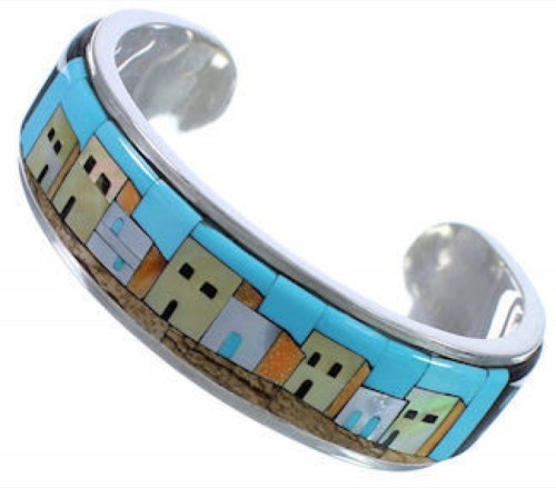 Turquoise Multicolor Native American Design Cuff Bracelet NS40597