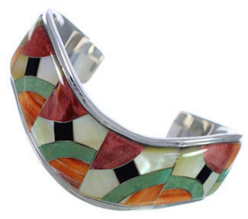 Multicolor Inlay Whiterock Sterling Silver Jewelry Bracelet NS45982