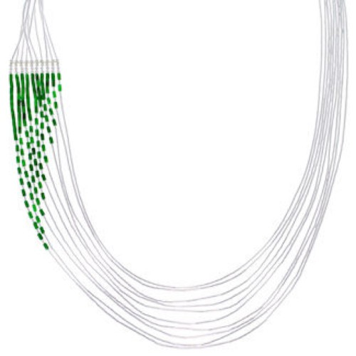 Hand Strung Liquid Sterling Silver Malachite Waterfall Necklace LS147M