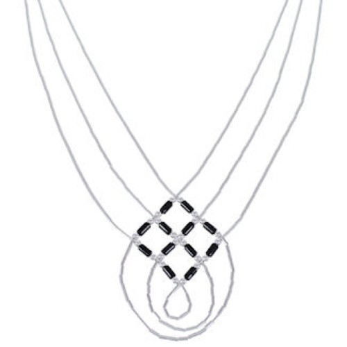 Onyx And Liquid Silver Basket Weave Necklace Jewelry LS45O