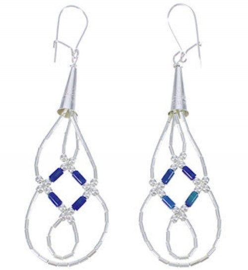 Hand Strung Liquid Sterling Silver Azurite Basket Weave Earrings LS44A