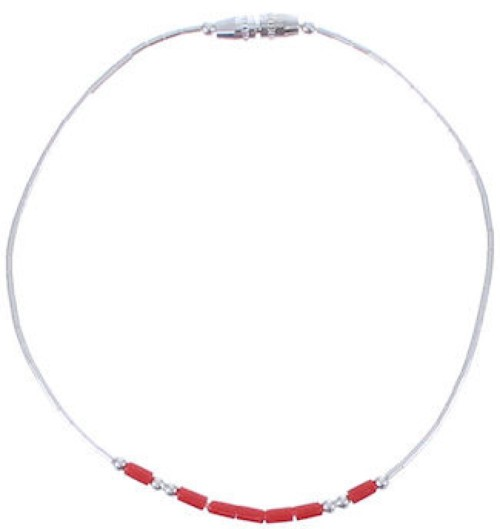 Hand Strung Liquid Silver And Coral Bead Bracelet LS36C