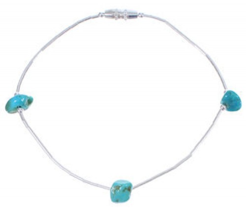 Hand Strung Liquid Silver & Turquoise Bead Bracelet Jewelry LS104T