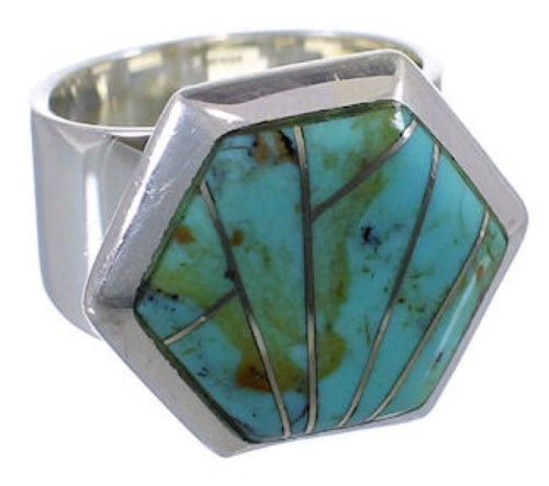 Turquoise Inlay Well-Bulit Silver Ring Size 4-3/4 EX40469