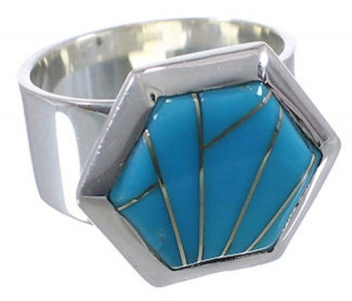 Turquoise Inlay Sterling Silver Sturdy Ring Size 7-1/2 EX40542