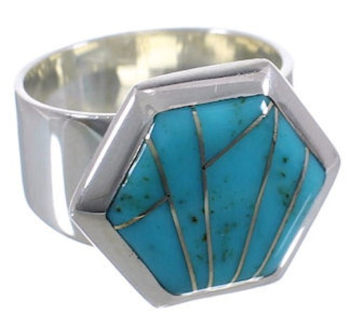 Turquoise Well-Built Sterling Silver Ring Size 8-3/4 EX40574