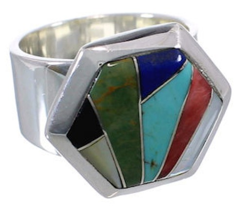 Sterling Silver Multicolor High Quality Ring Size 6-1/4 EX40710