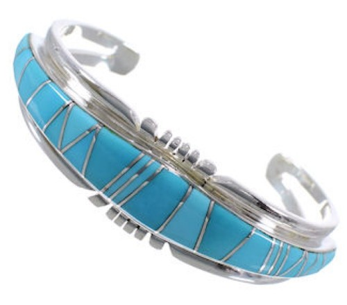 Sterling Silver Turquoise Inlay Sturdy Cuff Bracelet Jewelry EX28202