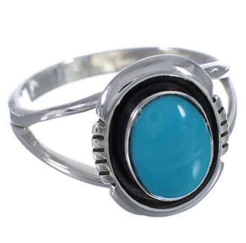 Southwest Genuine Sterling Silver Turquoise Ring Size 5-1/2 TX41791