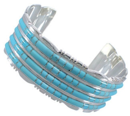 Sterling Silver Turquoise Southwest High Quality Cuff Bracelet EX28737