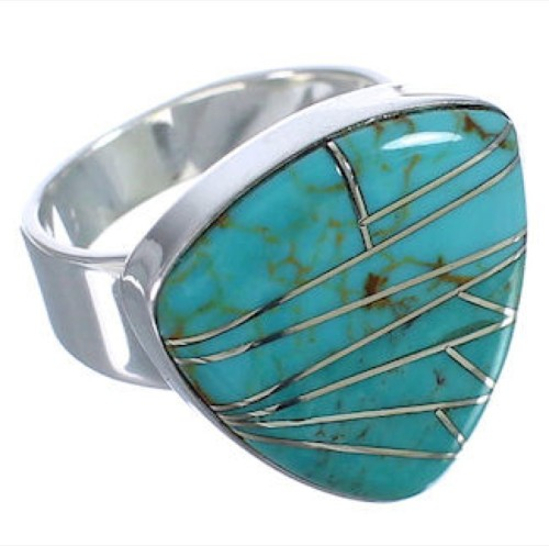 High Quality Turquoise Inlay Silver Ring Size 5-1/4 PX40398
