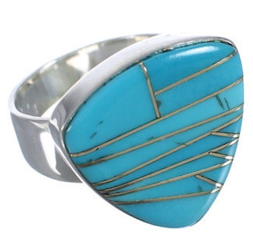 Southwestern Well-Built Turquoise And Silver Ring Size 8-3/4 PX40422