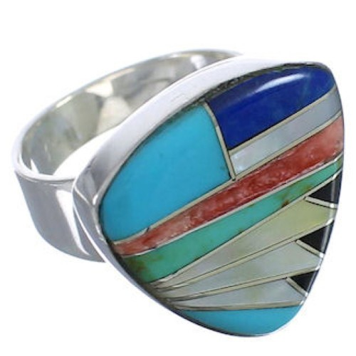 Multicolor Inlay Sterling Silver Heavy Ring Size 4-3/4 PX40466