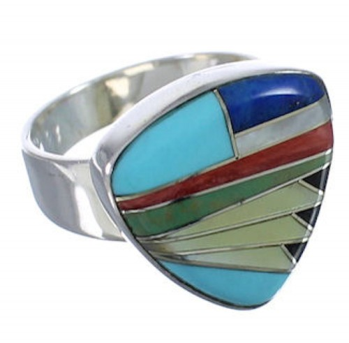 Sturdy Multicolor Southwest Silver Ring Size 8-1/4 PX40479