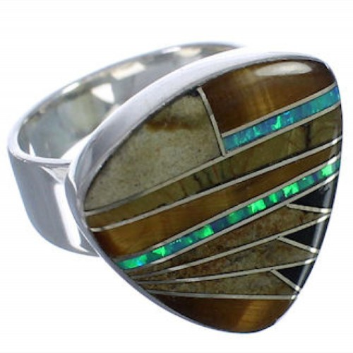 High Quality Sterling Silver And Multicolor Ring Size 7-1/4 PX40490