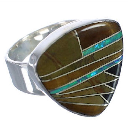 Southwest Sturdy Multicolor And Silver Ring Size 7-1/4 PX40507