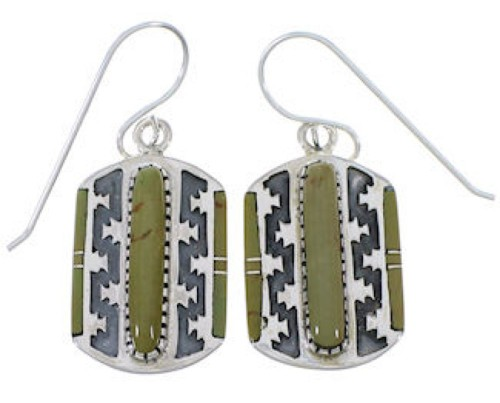 Genuine Sterling Silver And Turquoise Southwest Earrings PX32739