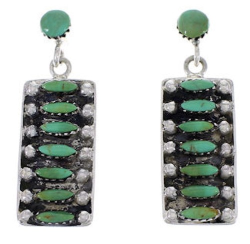 Genuine Sterling Silver Turquoise Post Dangle Earrings PX32843