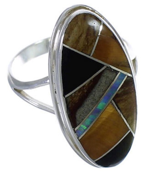 Multicolor Inlay And Sterling Silver Southwest Ring Size 6-1/4 UX34119