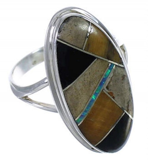 Multicolor Inlay Sterling Silver Jewelry Ring Size 5-3/4 UX34134