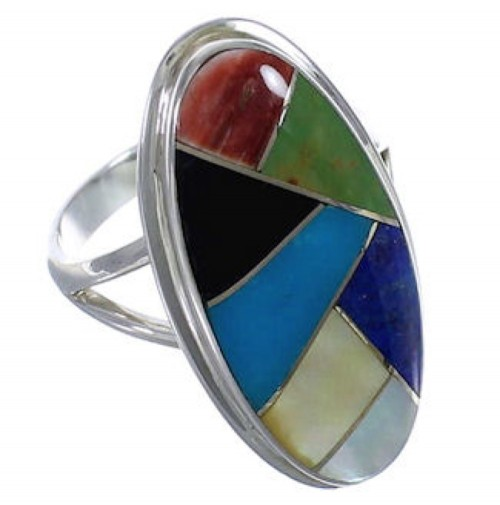 Southwestern Sterling Silver Multicolor Inlay Ring Size 6-1/4 UX34171