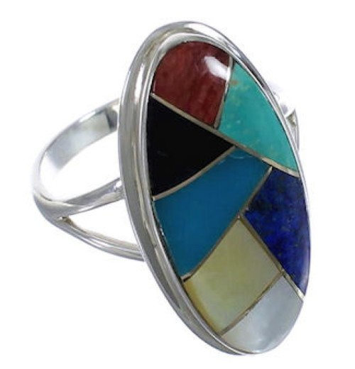 Southwestern Sterling Silver Multicolor Inlay Ring Size 8 UX34183
