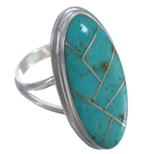 Turquoise Inlay And Sterling Silver Jewelry Ring Size 5-1/4 UX34215