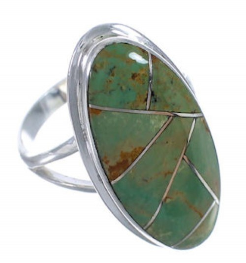 Genuine Sterling Silver Turquoise Inlay Ring Size 6-1/4 UX34223