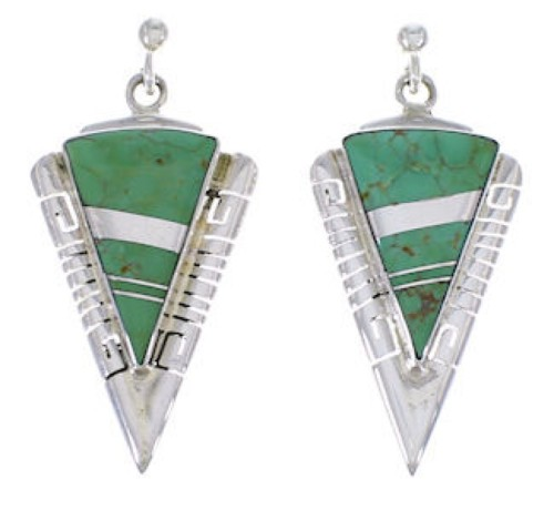 Turquoise And Sterling Silver Southwest Earrings EX31396