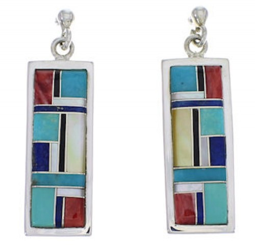 Multicolor Inlay And Sterling Silver Earrings EX31494