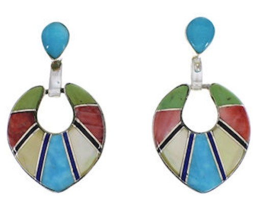 Multicolor Inlay Sterling Silver Earrings EX31511