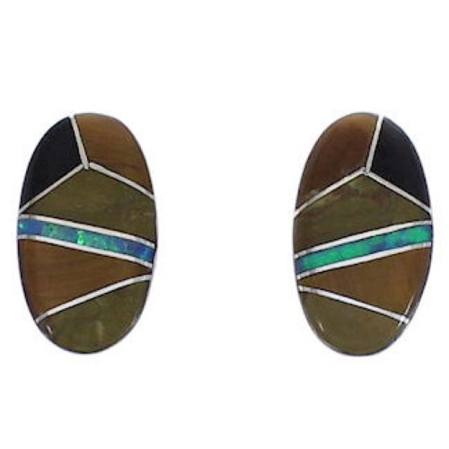 Southwestern Multicolor Inlay Post Earrings EX31597