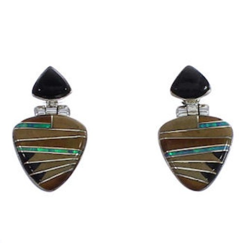 Southwest Multicolor Inlay Silver Earrings EX31606