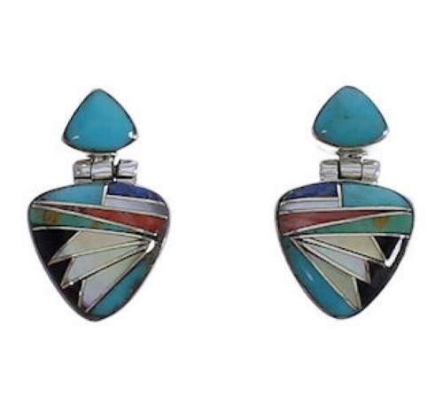 Genuine Sterling Silver And Multicolor Earrings EX31608