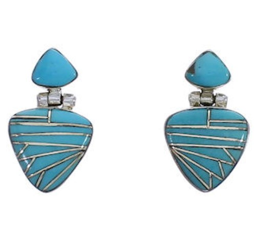 Southwestern Silver And Turquoise Earrings EX31611