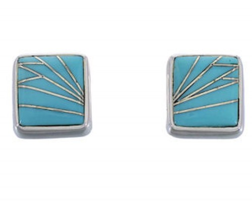 Southwest Silver Turquoise Post Earrings FX31012