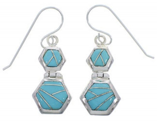 Turquoise Inlay Sterling Silver Hook Dangle Earrings FX31038