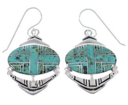 Turquoise Inlay Sterling Silver Hook Dangle Earrings PX28940