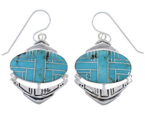 Sterling Silver And Turquoise Hook Dangle Earrings PX28942