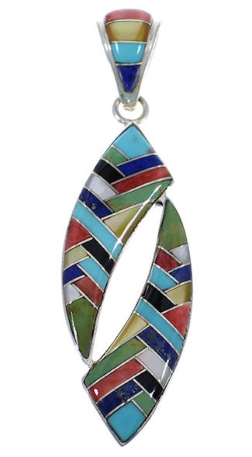 Multicolor Inlay Genuine Sterling Silver Jewelry Pendant PX28975