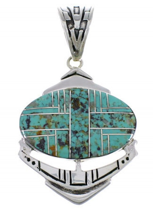 Turquoise Inlay Jewelry Silver Pendant PX29016