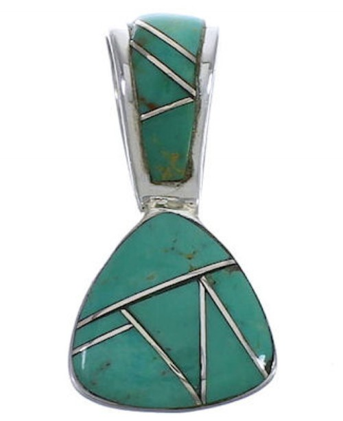 Genuine Sterling Silver And Turquoise Slide Pendant EX30468