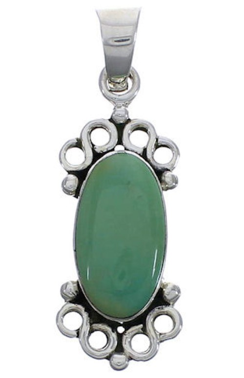 Turquoise And Genuine Sterling Silver Slide Pendant EX30473