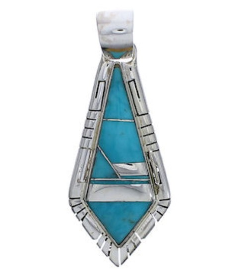Turquoise Inlay Southwest Sterling Silver Pendant EX30563