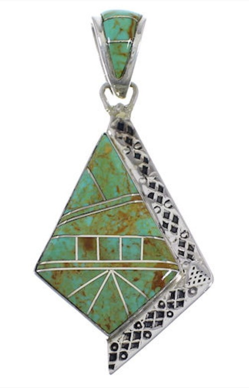 Genuine Sterling Silver Turquoise Inlay Pendant EX28806