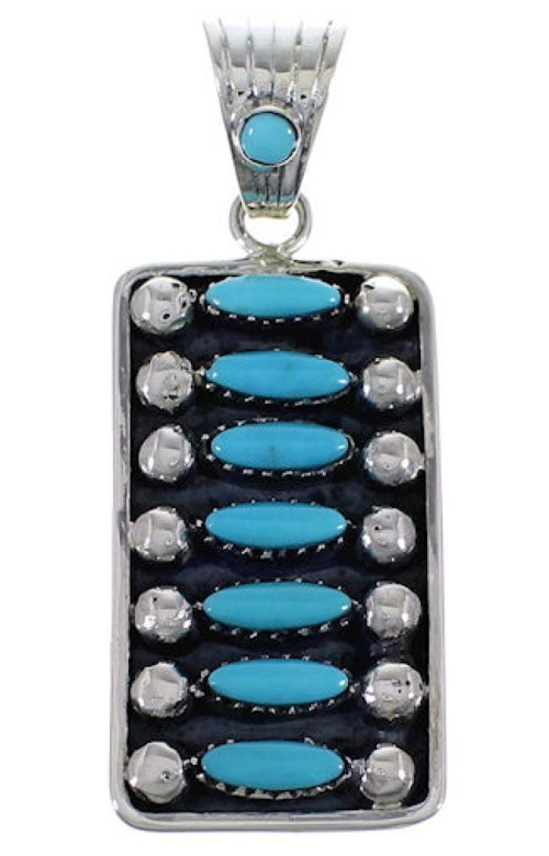 Turquoise Southwest Sterling Silver Pendant Jewelry EX28831