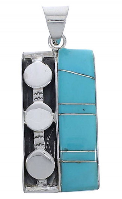 Southwestern High Quality Sterling Silver Turquoise Pendant PX30665
