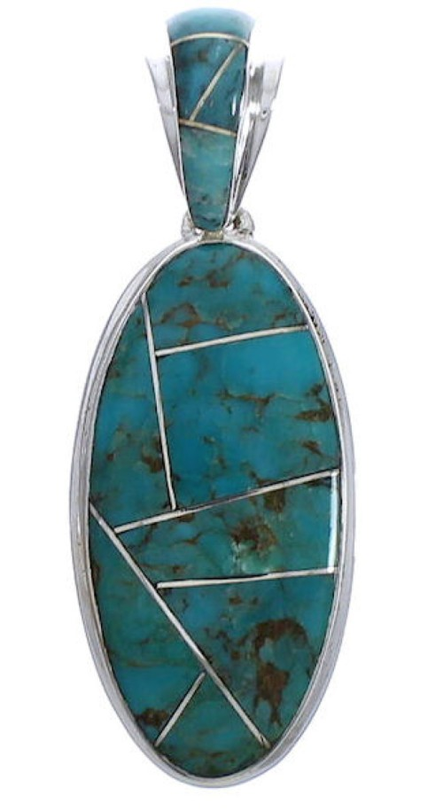 Silver Turquoise Inlay Southwest Pendant Jewelry PX30706