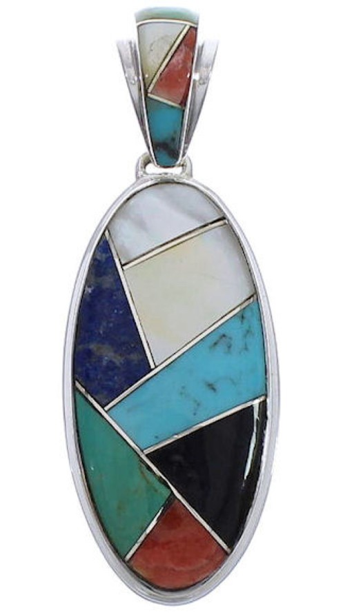Genuine Sterling Silver Multicolor Inlay Pendant Jewelry PX30731