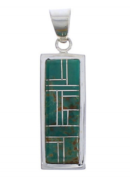 Southwest Genuine Sterling Silver And Turquoise Pendant EX29191